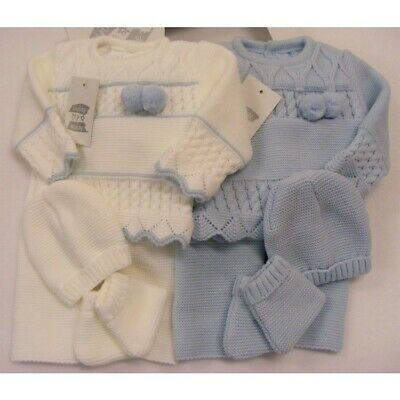 £12.99 • Buy Boys Blue & White Pram Sets Spanish Knitted 4 Pc Outfit Gift Boxed Reborn 0-3m