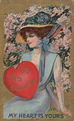 Vintage Postcard VALENTINES Posted In OHIO 1913 EMBOSSED Rough Shape  • 8.94£
