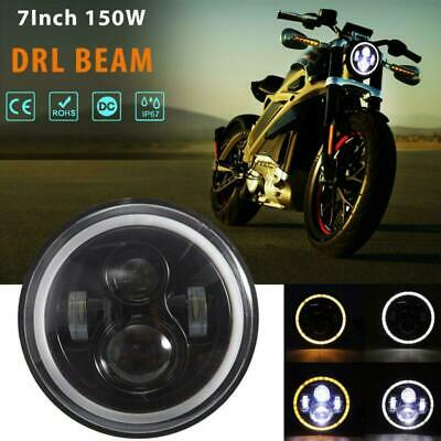 AU52.40 • Buy 7  Inch Motorcycle Round  Angel Eye LED Headlight Projector W/DRL For Harley