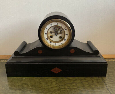Antique Victorian Slate And Marble Drumhead Mantle Clock With Open Escapement • 115£