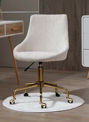 AU189 • Buy Beige Fabric Upholstered Office Chair Home Office Chair Gold Base
