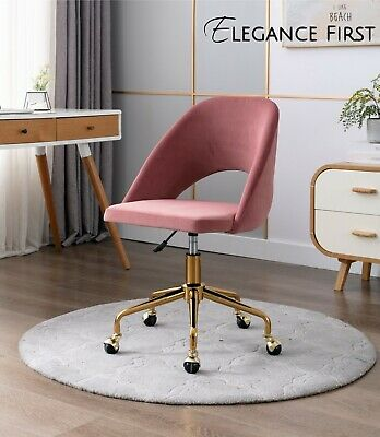 AU189 • Buy Pink Velvet Fabric Upholstered Office Chair Home Office Chair Gold Base