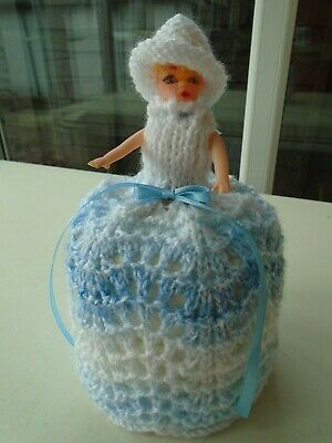 Hand Knitted Blue And White Doll Toilet Roll Cover • 4.99£