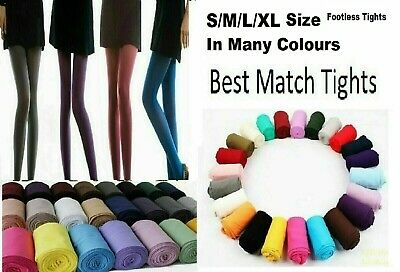£3.45 • Buy Ladies Footless Tights 100 Denier Opaque Best Match S/ M/L /XL/ XXL Many Colour