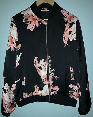 Womens George Floral Pink And Black Bomber Jacket, Size 16, Very Good Condition • 5£