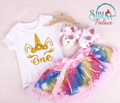 AU55 • Buy AU Baby Girl 1st Birthday Rainbow Outfit Party Unicorn Romper Cake Smash Dress