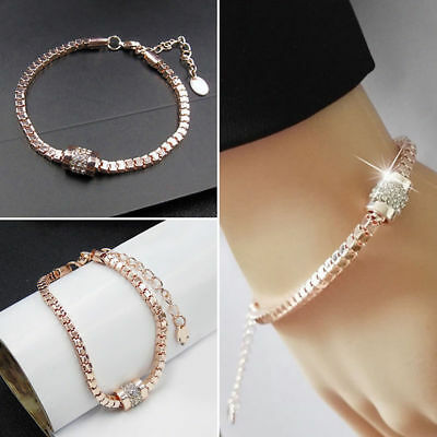 Womens Rose Gold Rhinestone Crystal Bangle Braclet Charm Ladies Jewellery Gift • 3.09£