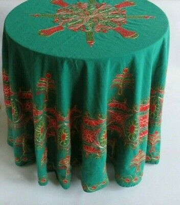 $ CDN11.77 • Buy Vintage Embroidered Holiday Christmas Tablecloth Green W Red & Gold 72  Rnd