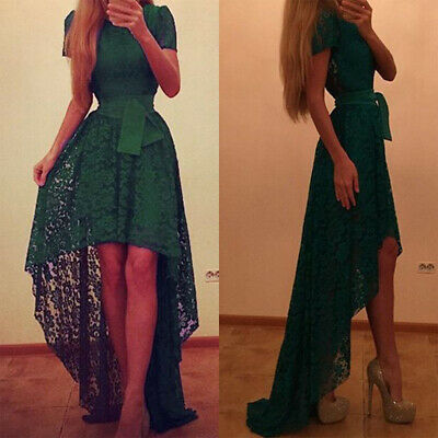 Womens Lace Irregular High Low Maxi Dress Wedding Cocktail Foraml Ball Prom Gown • 19.39£