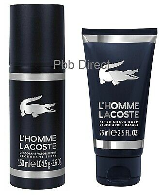Lacoste L'homme Aftershave Balm 75ml Deodorant Spray 150ml Set Mens Gift Genuine • 18.99£