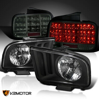 $247.72 • Buy For 2005-2009 Ford Mustang Black Headlights+Smoke Sequential LED Tail Lamps Pair