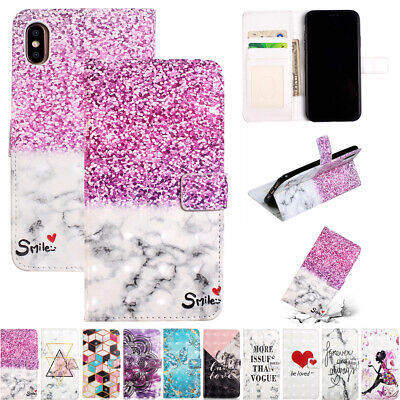 AU16.55 • Buy For IPhone 12 Pro 12Mini 6 7 8 XR XS Max Painted Wallet Magnetic Flip Case Cover
