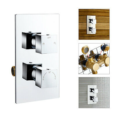 Concealed 2 Dial 2 Way Chrome Thermostatic Shower Mixer Valve Solid Brass WRAS • 68.89£