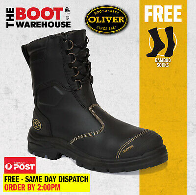 AU169.95 • Buy Oliver Work Boots 55380, Black Steel Toe Safety High Leg, Zip Side Riggers Boot