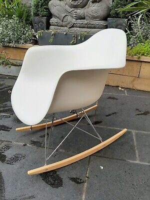 Retro Plastic  Eames Style White  Rocking Chair - Metal Legs • 35£
