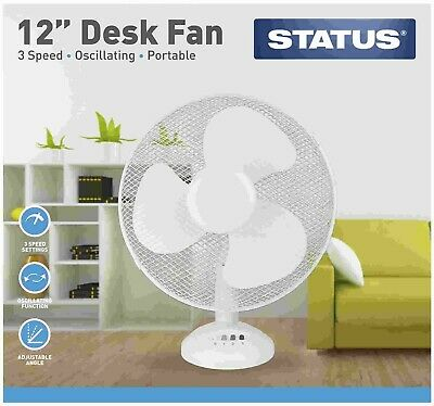 Oscillating 12  Desk Fan Electric Portable 3 Speeds Adjustable Air White Office • 12£