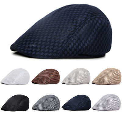 Men Boys Hollow Out Mesh Gatsby Breathable Cap Golf Peaked Flat Cabbie Beret Hat • 6.89£