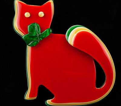 £79.12 • Buy Lea Stein Watching Cat Brooch Pin Multilayer Red Paris France