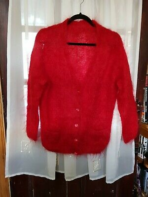 Vintage Hand Knitted Red Mohair Cardigan Size 16 18 • 20£