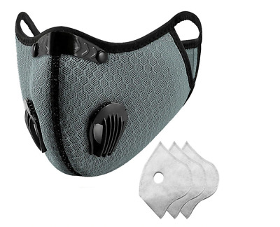 Reusable Washable Anti Pollution Face Mask PM2.5 Two Air Vent With Filter UK • 3.99£