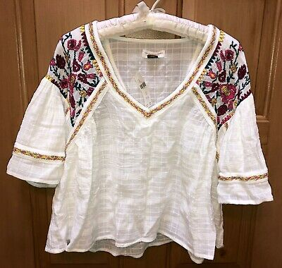$ CDN75.13 • Buy NWT Womens Anthropologie Pilcro White Tawney Embroidered Blouse Size XS
