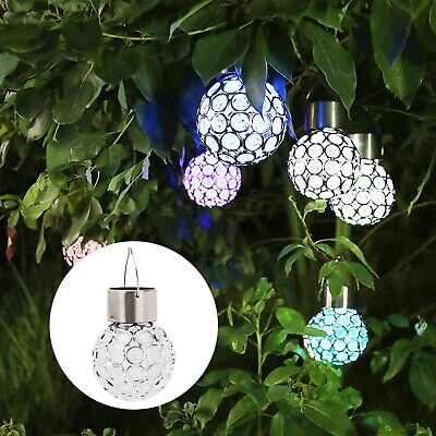 2-10PC Solar Power Crystal Hanging Ball Lights 7Colour Changing LED Garden Light • 7.99£