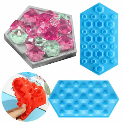 Mini Diamond Cake Silicone Mould DIY Crystals Gems Wax Melts Ice Candy Mold • 4.29£