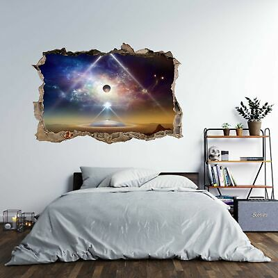 Spaceship Cosmos Universe 3D Hole In The Wall Effect Wall Sticker Decal Mural • 14.99£