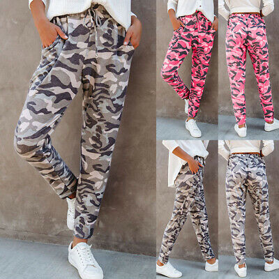 £11.63 • Buy Womens Camo Cargo Joggers Trousers Ladies Tracksuit Bottoms Jogging Gym Pants UK