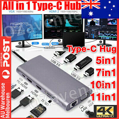 AU40.95 • Buy 11 In 1 USB-C Type C HD Output 4K HDMI USB 3.0 Adapter HUB For MacBook Pro