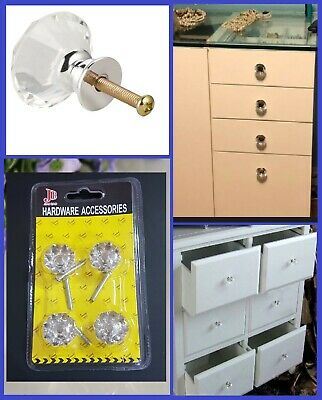 Door Cabinet Knobs Clear Crystal Diamond Glass Cupboard Drawer Furniture Handle  • 3.99£