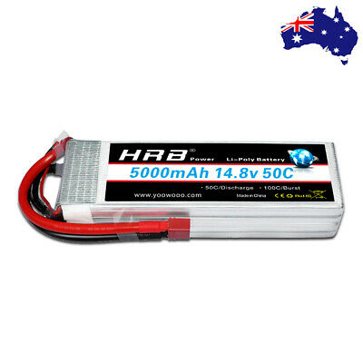 AU78.06 • Buy HRB 4S 14.8V 5000mAh LiPo Battery 50C Deans For RC Drone Airplane Car Truck Boat