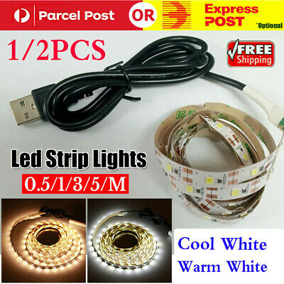AU12.95 • Buy 1/2 0.5/1/3/5M 5V Led Strip Lights Cool/Warm White 3528 SMD LED Strips Car Boats