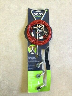 Dog Camping Garden Tie Out Ground Peg, Screw Stake Spike With 4m Wire Lead Leash • 5£