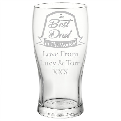 Best Dad Personalised Engraved Beer Pint Glass Birthday Christmas Gift • 8.50£