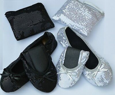 £7.25 • Buy Sequin Fold Up Flats Roll Up Pumps Fold Up Shoes Post Party Pumps With Free Bag!