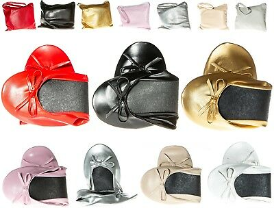 Fold Up Flats Roll Up Pumps Fold Up Shoes Post Party Pumps With Free Bag! • 5.99£