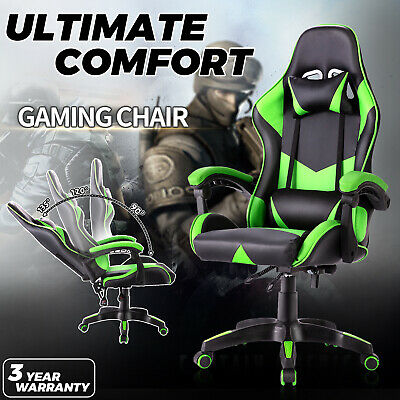 AU119.90 • Buy Gaming Computer Office Chair Executive Recliner PU Leather Racer Seating Green