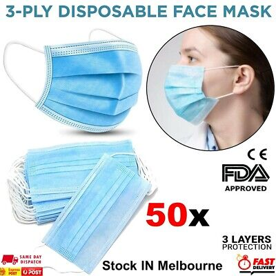 AU9.43 • Buy Disposable Face Mask Surgical Grade Protective Masks 3 Layers Filter Cover 50pcs