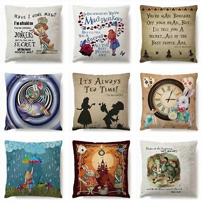 18  ALICE IN WONDERLAND Cushion Cover Pillow Case Cotton Square Vintage Gifts UK • 4.58£