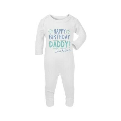 Happy Birthday Daddy Personalised Baby Romper Bodysuit Funny Gift Cute Grow • 8.99£