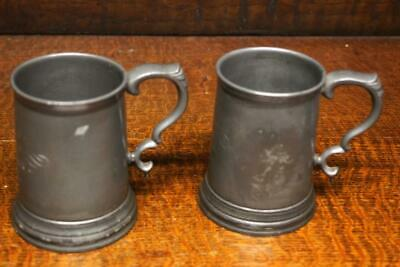 Pair Of Antique James Dixon And Sons Glass Bottom Tankards C1875 [6684] • 64.50£