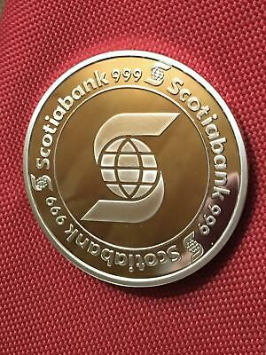 $ CDN245 • Buy 5 Oz Scotiabank 999 Fine Silver Minted 'Coaster' Round In Capsule
