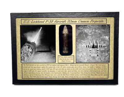 £63.69 • Buy WW2 U.S. Lockheed P-38 Aircraft 20 Mm Cannon Bullet In Display Case With COA