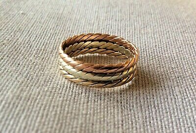80s Vintage 9ct Gold Fully Hallmarked  Tri-Colour Ring Size L - M • 110£