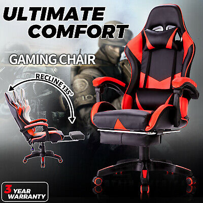 AU129.90 • Buy Gaming Executive Office Computer Racer Chair Recliner PU Seating W/ Footrest Red