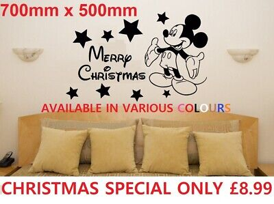 Merry Christmas Minnie/mickey Mouse Wall Stickers Kids Wall Art Decal Bedroom • 8.99£