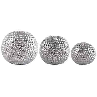 NEW Elegant Set Of 3 Silver Ceramic Dimpled Spheres- Decorative Home Ornaments  • 17.99£
