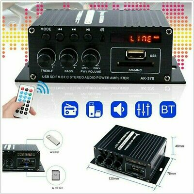 400W Bluetooth HiFi Power Amplifier Mini Audio Digital Stereo FM Car AMP Remote • 10.59£