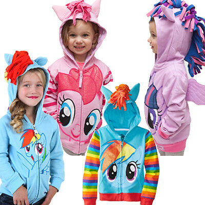 Kids Girls My Little Pony Hoodie Wings Jacket Twilight Rainbow Dash Sweater UK • 10.79£